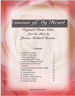 Cover image of the songbook Canvas of My Heart by James Michael Stevens