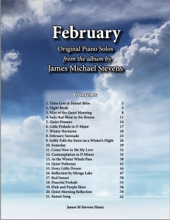 Cover image of the songbook February by James Michael Stevens