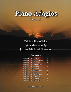 Cover image of the songbook Piano Adagios, Nos. 1-12 by James Michael Stevens