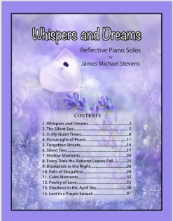 Cover image of the songbook Whispers and Dreams by James Michael Stevens